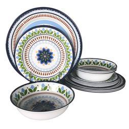 12 Pcs Melamine Dinnerware Set - Rustic Plates and bowls Set