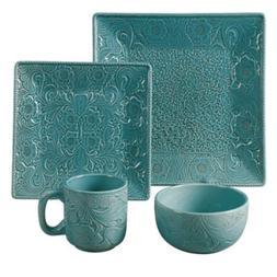 Savannah 16 Piece Dinnerware Set Color: Turquoise