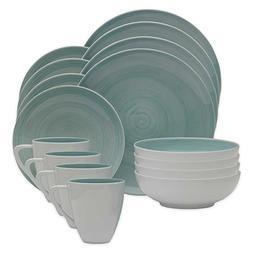 Mikasa Savona 16-Piece Porcelain Dinnerware Set in Teal   Mi