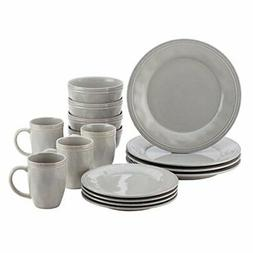 Dinnerware Set Sea Salt Gray 16 Piece Stoneware Plates Bowls