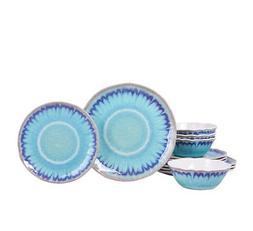 222 Fifth Sea Splash Turquoise 12 Piece Melamine Dinnerware