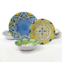 Gibson Home Seaberry 12 Melamine Dinnerware Set, Assorted De