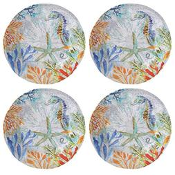 Coastal Seahorse Coral Reef Melamine Dinner Plates, Set of 4