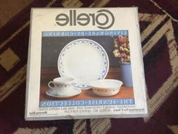 SEALED 16 Piece Vintage Corelle Morning Blue Pattern Dish Di