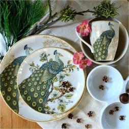222 Fifth Serene 16 Piece Porcelain Dinnerware Set with Roun