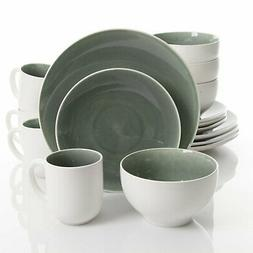 Gibson Elite Serenity 16 Piece Dinnerware Set, Grey/White