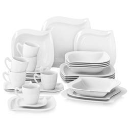 MALACASA, Series Elvira Porcelain Dinnerware Set White Table