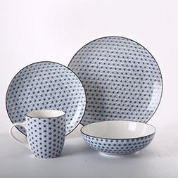 """SOLECASA """"16-Piece/Service for 4"""" Printed Porcelain/Ceramic"""