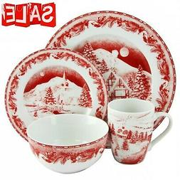 Christmas Holiday Winter Dinnerware Set Service for 4 Stonew