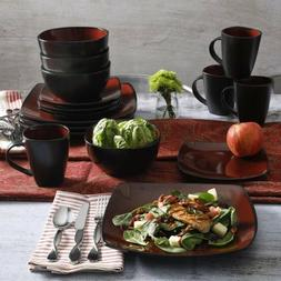 Square Dinnerware Set Service For 8 Red Stoneware Dishes Pla