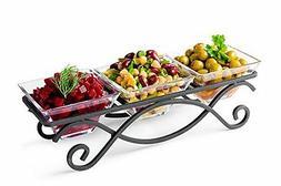 Serving Bowl Set Elegant Three Square Dinner Meal Kitchen Fo