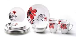 Set 16-Piece Dinnerware Set for 4 Stoneware Dishes Dinnerwar