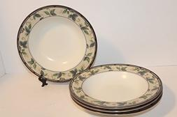 "MIKASA Garden Ivy SET/4 Large Rimmed Soup Bowls 9 3/8"" ~ Int"
