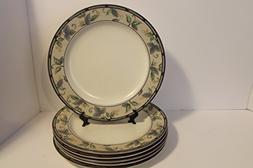 """MIKASA Garden Ivy SET/6 Dinner Plates 11 1/8"""" ~ Intaglio, Bl"""