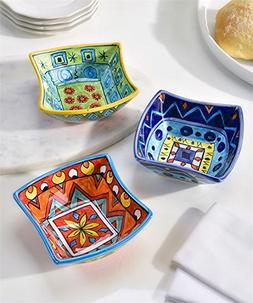 Giftcraft 3 Pc Set Boho Style Colorful Cereal and Appetizer