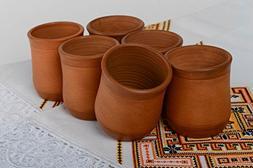 Set Of Handmade Clay Cups 6 Pieces 200 Ml Handmade Kitchen E