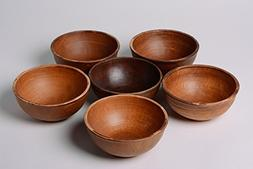 Set Of Deep Handmade Ceramic Bowls Of Brown Color 6 Items In