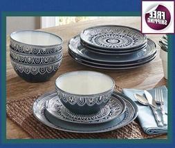 Set Dinnerware 12 Pcs Dishes Plate Vintage Spanish Teal Meda