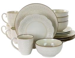 Set Dinnerware 16 Pc Dishes Plate Mug Modern Dinner Service