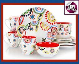 Set Dinnerware 16 Pcs Dishes Plate Mug Classic Vintage Moder