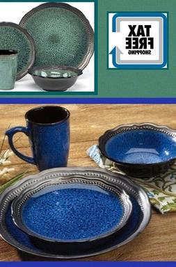 Deluxe Set Dinnerware 16 Pcs Dishes Plate Mug Modern Vintage