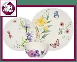 Set Dinnerware 18 or 36 P Dishes Plate Bowl Vintage Modern C