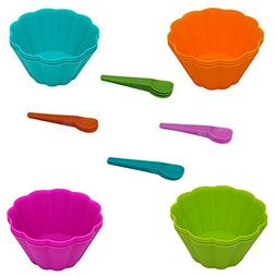 24 Piece Set of Disposable Plastic Mini Ice Cream Bowls and