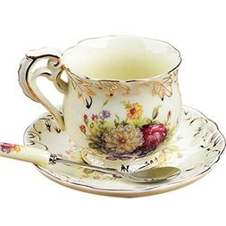Lautechco European Rose Style Porcelain Coffee Cup Set with
