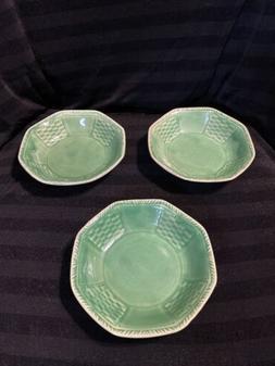 """Set Of 3 CC Thompson Pottery Vintage Heirloom Jade 5"""" Dish"""
