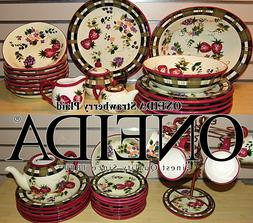 Set of 39 ONEIDA Strawberry Plaid Hand Painted Dinnerware Gr