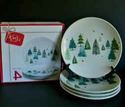 "Set of 4 Lenox BALSAM LANE Accent Salad 8"" Plate Holiday Chr"