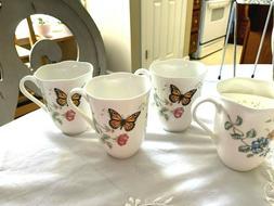 Lenox Set of 4 Butterfly Meadow Coffee/Tea Mugs Cups