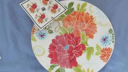 """Set of 4 -  222 Fifth Huang Floral Appetizer Plates  ~ 6"""" Di"""