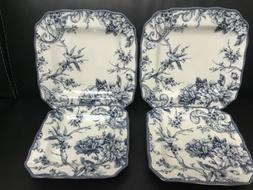 Set Of 4 Plates 222 Fifth Adelaide-Blue & White Square Salad