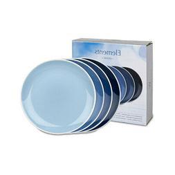 set of 4 plates elements ocean blue