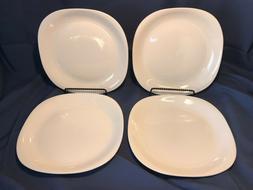Set of 4 Thompson Pottery Square 10 1/2 inch White Dinner Pl