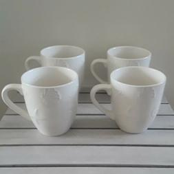 SET OF 4 THOMPSON POTTERY HAMPTON MUGS EMBOSSED SEASHELL STO