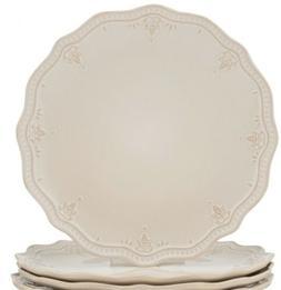 "Set of 5 Elegant Dinnerware Farmhouse Lace 10.75"" Dinner Pla"