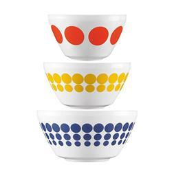 World Kitchen  Set Retro White Glass Mixing or Serving Bowls