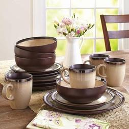 Better Homes and Gardens 16-Piece Sierra Dinnerware Set, Bei