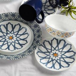 Corelle Signature Garden 16-piece Blue Azul Dinnerware Set f