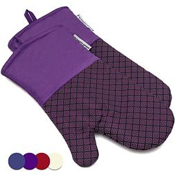 LA Sweet Home Silicone Oven Mitts Greek Key Pattern Heat Res