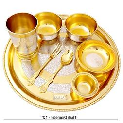 Prisha India Craft Silver Brass Designer Dinner Thali Set, D