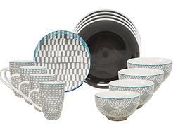 Euro Ceramica Simpatico Collection 16 Piece Modern Ceramic D