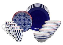 Euro Ceramica Simpatico Collection 16 Piece Modern Ceramic D