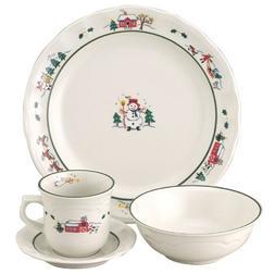 Pfaltzgraff Snow Village 16-Piece Dinnerware Set, Service fo