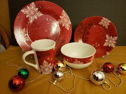 Snowflake Dinnerware set 16 plus pieces ** Four - 4 piece pl