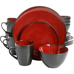 Soho Lounge Round 16 Piece Dinnerware Set, Burgundy