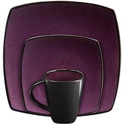 Gibson Soho Lounge Square 16-piece dinnerware set Purple - 1