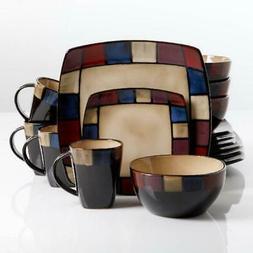 Gibson Home Soho Lounge Square Stoneware 16-piece Dinnerware